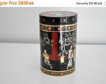 ON SALE Vintage Asian Style Tea Tin Black and Red