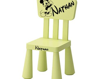 Personalized with a name and a standing mickey green Chair.