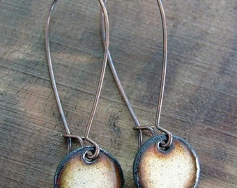 Gold Copper Enamel Dangle Earrings, Drop Earrings, Nickel Free, Copper Kidney Ear Wires