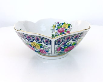 Lotus Flower Bowl, Gold Rim, Chinoiserie, Hollywood Regency, Japan, Asian Serving Bowl, Vintage Home Decor, Pink and Blue Floral Bowl