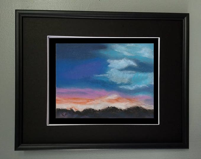"8x10 Original Pastel Painting, Clouds Painting, ""Amazing Colors of the Sky"""