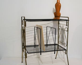 Mid Century Table / Stand / Rack Black with Gold