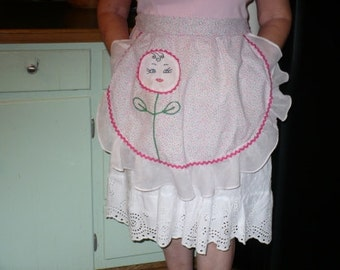 Vintage Pink Flowered Half Apron with organdy ruffle and Appliqued Embroidered Flower Decoration