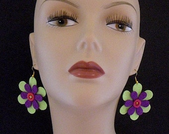 Neon Green Grape Funky Felt Flowers Earrings