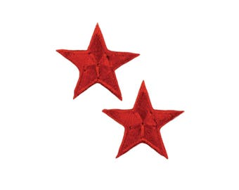 Red Stars Iron On Applique, Red Stars Iron on Patch, Stars Applique, Fun Patch, Kids Patch, Embroidered Patch