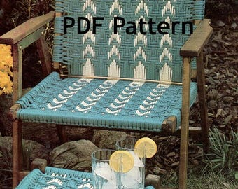 Macramé Chair and Footstool Pattern, Classic Hippie Boho,  Hemp, Vintage 1980's, PDF Instant, Digital Download