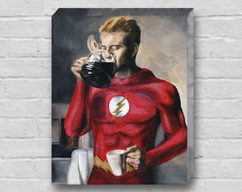 The Flash Needs Coffee - Superhero The Flash Canvas Art Print
