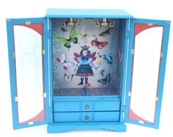 MBS Large Blue Jewelry Box, Altered Jewelry Armoire, Steampunk Fairies, Butterfly Jewelry Box, Blue Jewelry Storage, Fairy Decor