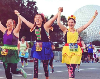 BELLE running costume apron, Anna costume apron, Ariel costume apron, Belle running costume,  Disney running costume