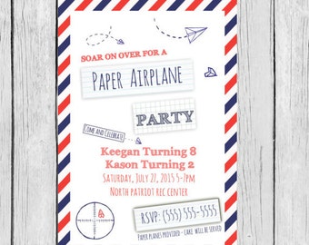 Paper Airplane invitation - Paper Airplane Birthday, Paper Airplane Birthday party, Paper Airplane invites, Paper Airplane invitations,