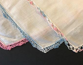 Ladies Handkerchief - Lot of 3 - Vintage Hankies - Baby Shower Gift - Blue Crochet Trim - Pink Hand Crochet - Handkerchief Set - Hanky Lot
