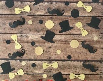 Little Man; Mustache; Bow Tie; Top Hat Confetti; Birthday Confetti; Party Confetti