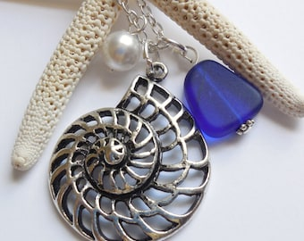 Royal Blue Sea Glass Necklace, Charm necklace, Pearl, Silver Nautilus, bridesmaid necklace, beach wedding.  FREE SHIPPING within the U.S.