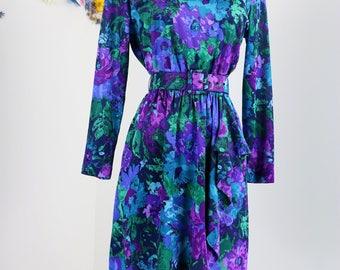 1980s Dress - Vintage Floral Faux Wrap Dress - M/L - Long Sleeve - Ruffle Detail - Belted - Blue Green Purple - Vibrant Day Dress