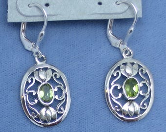 Natural Peridot Oval Filigree Leverback Earrings - Sterling Silver - 171102 - Free Shipping to the USA