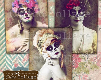 Day of the Dead Ephemera, Vintage Sugar Skulls, Printable Collage Sheet, Digital Collage Sheet, 2.5x3.5 ATC Size, Printable Tags
