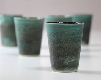 Stoneware Ceramic Cup green, black. Tea Service, Coffee Cup Green. Handmade Stoneware Pottery