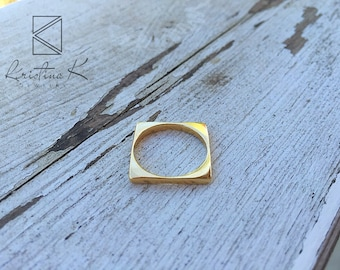 Simple Square Ring, Gold Square Ring, Gold Ring, Rectangle Ring, Geometric Ring, Geometric jewelry, valentine's day gift, 9k Gold ring, 14k