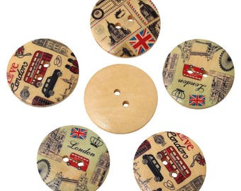 set of 5 buttons in wood London