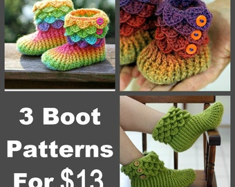 CROCHET PATTERN: Three Dragon Crocodile Boot Patterns (Crocodile Stitch Baby/Child/Adult) for 13 - Permission to Sell Finished Product