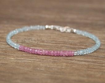 Pink Sapphire and Aquamarine Bracelet, Aquamarine Jewelry, Layering, Beaded, March and September Birthstone, Gemstone Bracelet