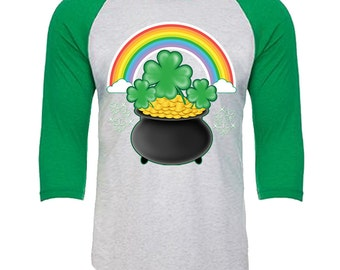 St. Patrick's Day - Pot of Gold rainbow shamrock - Unisex Tri-Blend 3/4 Sleeve Raglan Baseball T-Shirt - Sizes XS-3XL in 14 Colors!