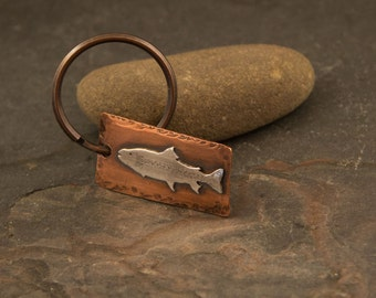 Trout Keychain, Fly fishing Gift, Dad Gift, Personalized gift