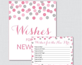 Wishes for the New Mrs Pink and Silver Bridal Shower Wishes for the Bride to Be - Printable Pink and Gray Bridal Shower Wishes - 0001-S