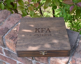 Cigar Box/Letter Box/Keepsake Box with Initials and Date