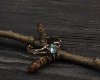 Branch engagement ring with Topaz, Women's branch gold ring, Tree bark women's ring, Womens topaz ring, Gift for girlfriend, Gift for women