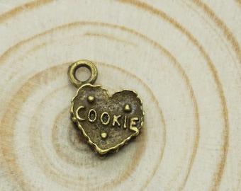 12pcs Antique Bronze cookie heart Charm Pendants for Necklace / accessory DIY 12mm x 10mm (500-371A)
