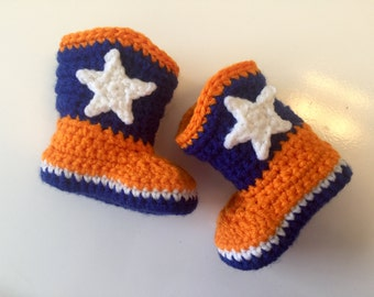 Baby Boy Cowboy Boots Denver Broncos  Inspired Football Baby Boots, Crochet Cowboy Boots,Baby Girl Cowboy Boots, newborn photo prop