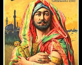 VINTAGE CIGARETTE AD: Mogul Cigarettes - Arabian Sheik - Giclee Fine Art Print
