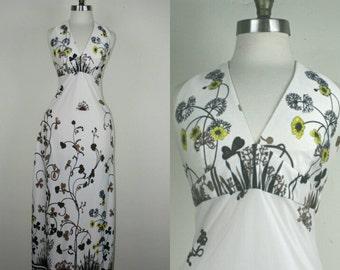 70s Halter Dress Floral Maxi S