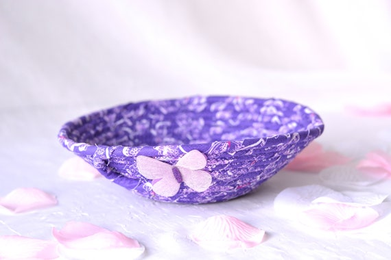 Girl Hair Tie Bowl, Handmade Artisan Purple Basket, Cute Ring Dish, Desk Accessory Basket, Ultra Violet Artisan Quilted Bowl