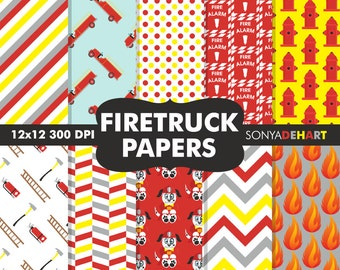 Fireman Papers, Fireman Patterns, Firetruck Papers, Digital Paper Packs, Scrapbook Pages, Digital Paper, Commercial Use