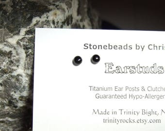 Longer Post Black Onyx 4mm Round Stud Earrings Earings Titanium Post and Clutch Hypo Allergenic Handmade in Newfoundland Chalcedony