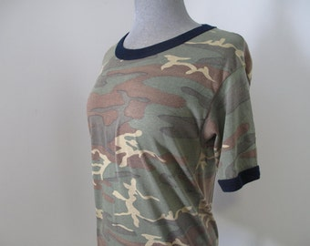 vintage perfectly worn camo ringer favorite tshirt