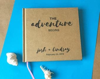 Custom Wedding Guest Book · The Adventure Begins· And So the Adventure Begins Guest Book· Guest Book Wedding Album· DIY Wedding On a Budget
