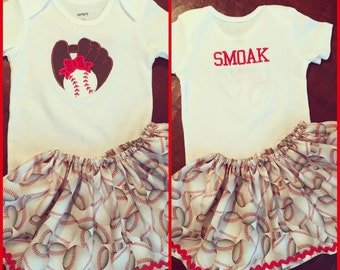 Baseball print skirt with baseball and mitt applique embroidered on personalized with name