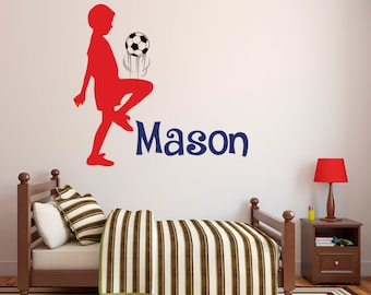 Soccer Name Wall Decal   Personalized Name Wall Decal   Childrenu0027s Room    Custom Kids Infant Teen Room Wall Decal   Soccer Vinyl Wall Decal