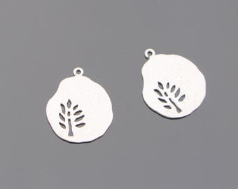 Matte Silver Tarnish resistant tree leaf pendant, connector, charm, B510608