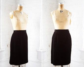 1980s Skirt - 80s Skirt - Vintage Black Velvet Pencil Skirt