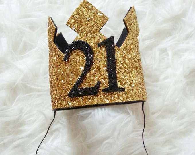 GLITTERY Gold and Black  21st Birthday Crown   Adult Birthday   Birthday Crown   Glitter Crown