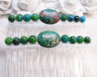 Green Imperial Jasper and Dyed Green Jasper Handmade Hair comb pair hand made