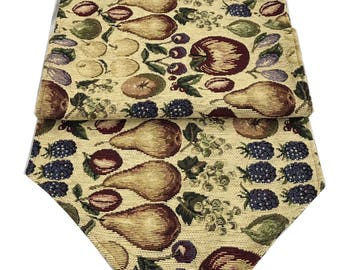 """New Handmade Table Runner Tapestry with Fruit Design 67"""" long x 17"""" Rich Textured  Corduory Feel Fabric"""