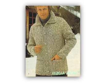 Men's Cardigan Knitting Pattern - Vintage 1970's Sweater Knitting Instant Download on Kilbella Vintage
