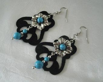 Turquoise Leather Earrings, boho jewelry hippie jewelry bohemian jewelry gypsy jewelry hippie earrings new age gypsy earrings boho earrings