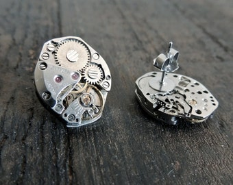 Steampunk Earrings // Clockwork studs // watch movement post earrings