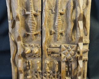 Wood Carved African Dogon Art Granary Door Mali Working Latch ~13\  & Dogon door | Etsy